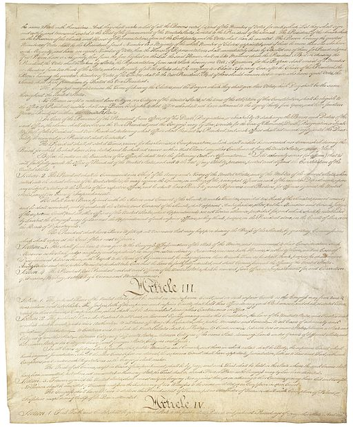 The Constitution of the United States of America. Image: Constitutional Convention (U.S. National Archives and Records Administration) [Public domain], via Wikimedia Commons