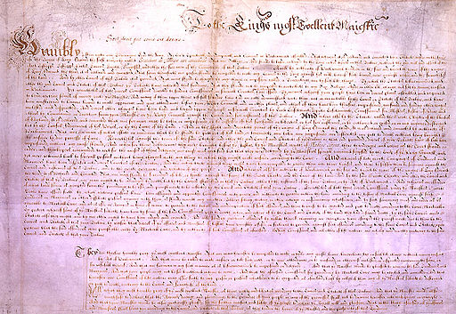 Petition of Right. Image: Parliament of England, via Wikimedia Commons