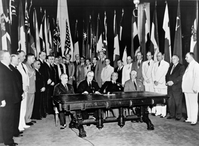 Signing of the UN Declaration. Image: United Nations [Public domain], via Wikimedia Commons