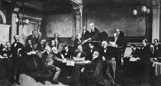 The Signing of the Geneva Convention. Image: Charles Édouard Armand-Dumaresq [Public domain], via Wikimedia Commons